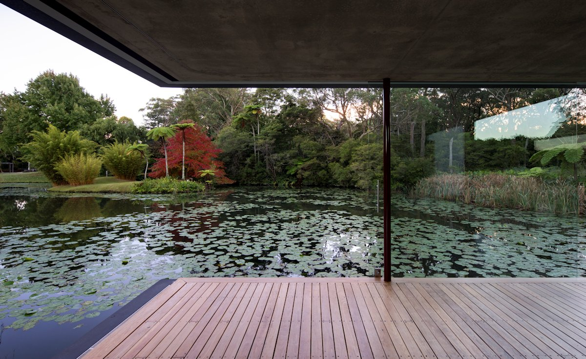 Pond, Living Space, Wood Flooring, Glass Pavilion in Somersby, Australia
