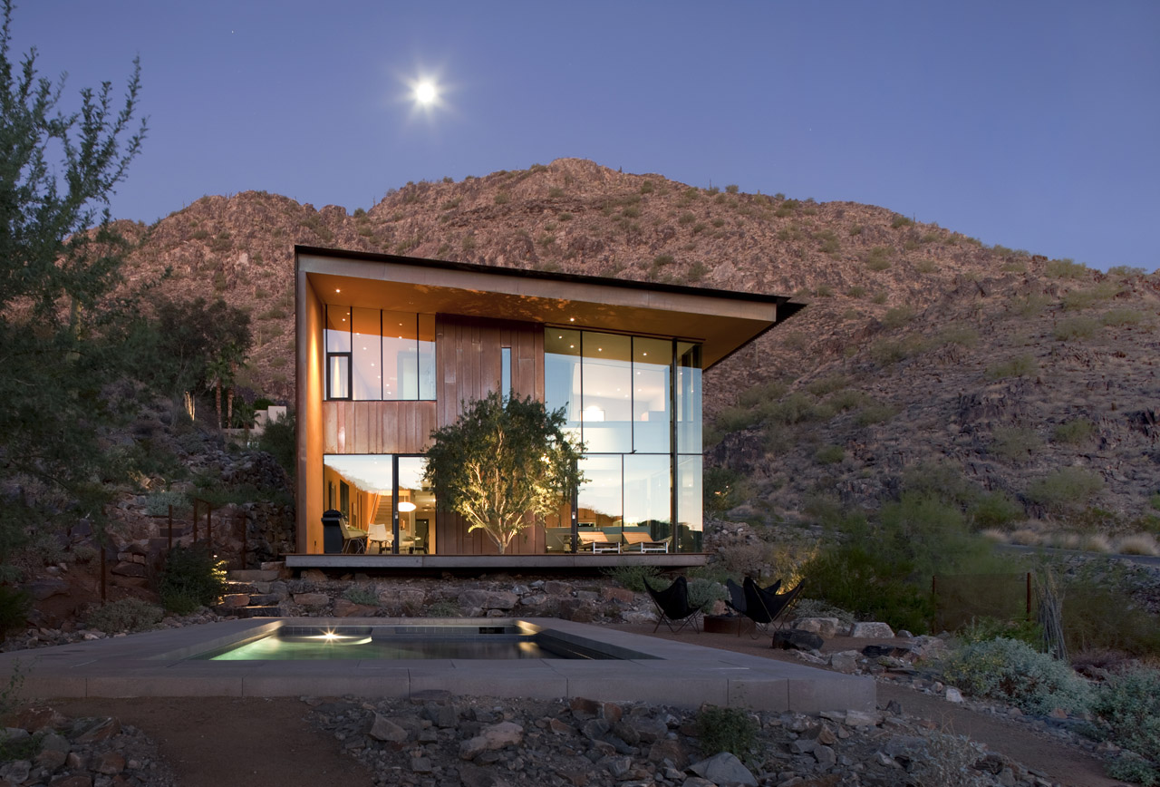 Pool, Terrace, Lighting, Jarson Residence in Paradise Valley, Arizona