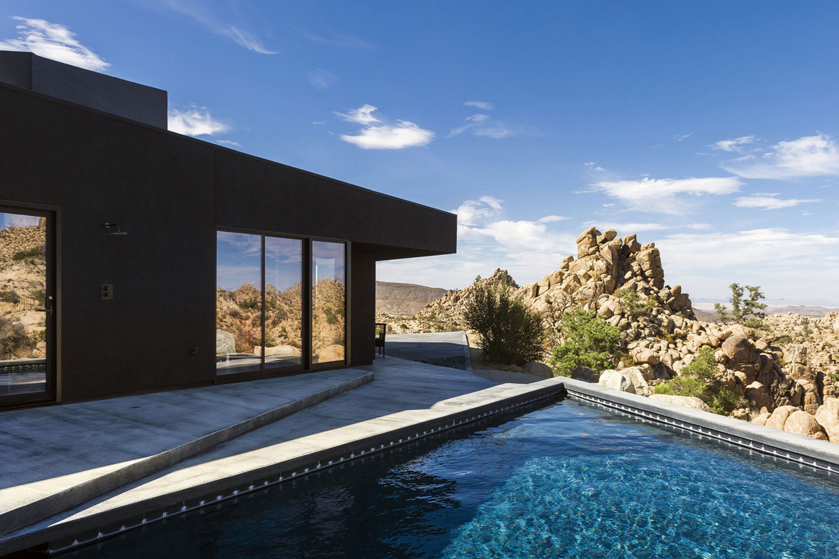 Pool, Terrace, Rock Outcrop, Mountain Home in Twentynine Palms, California