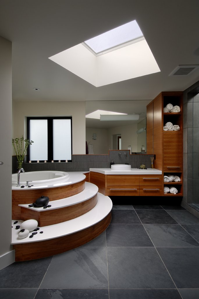 Raised Tub, Sink, Mirror, Modern Home in Victoria, British Columbia