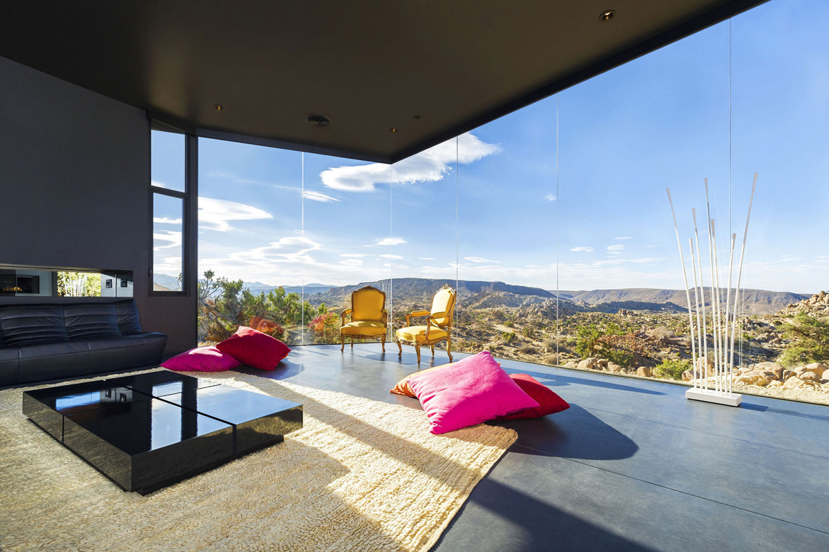 Rug, Sofa, Glass Walls, Stunning Views, Living Room, Mountain Home in Twentynine Palms, California