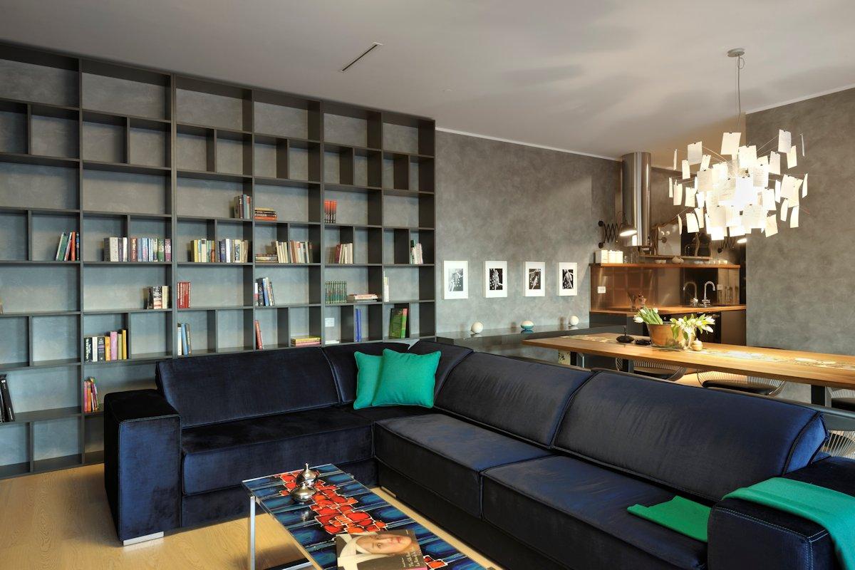 Shelving, Dark Sofa, Apartment in Ljubljana, the Capital of Slovenia