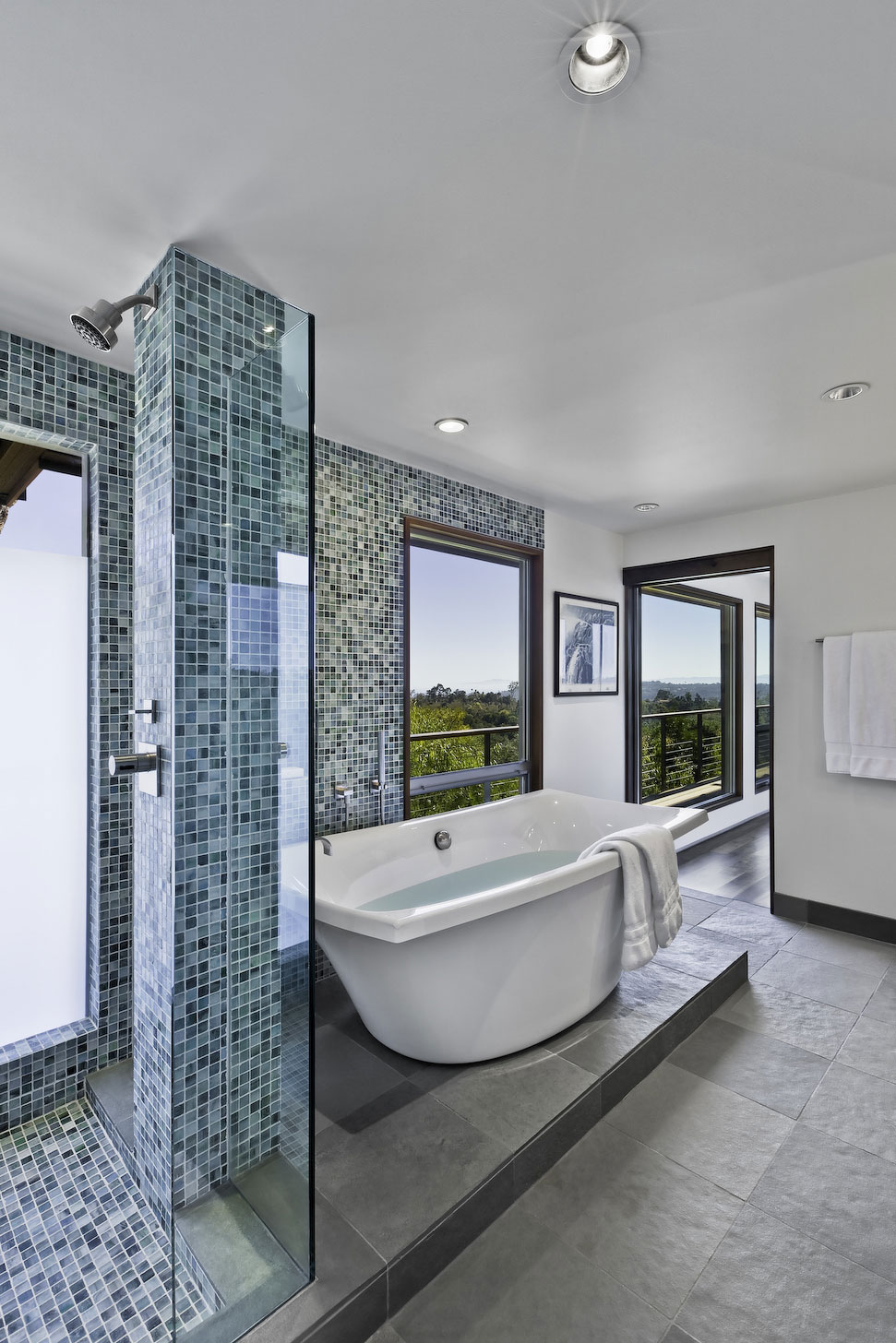 Shower, Bath, Bathroom, Mid-Century Modern Home in Santa Barbara, California