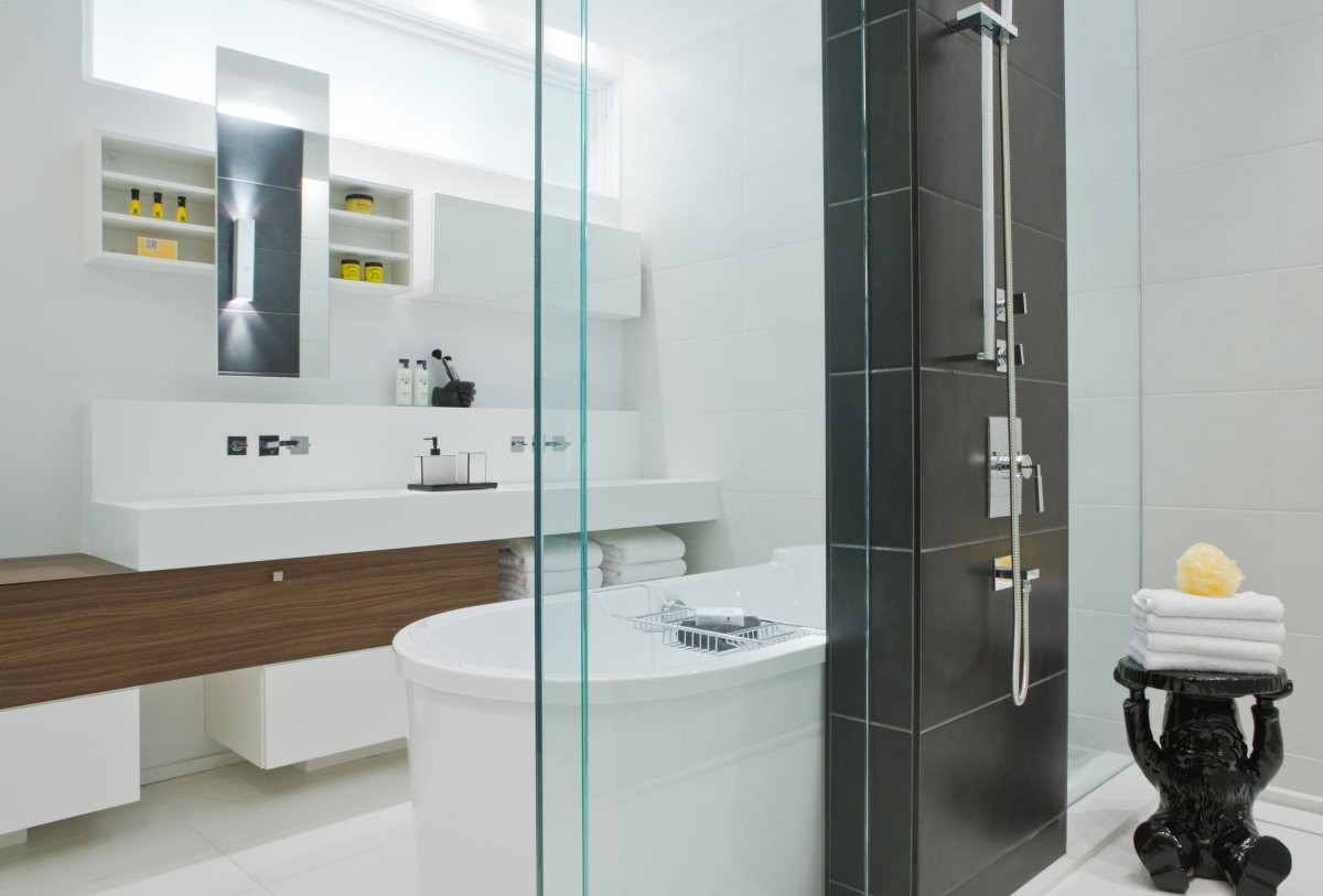 Shower, Bathroom, Double Sinks, Contemporary Townhome in Toronto, Canada