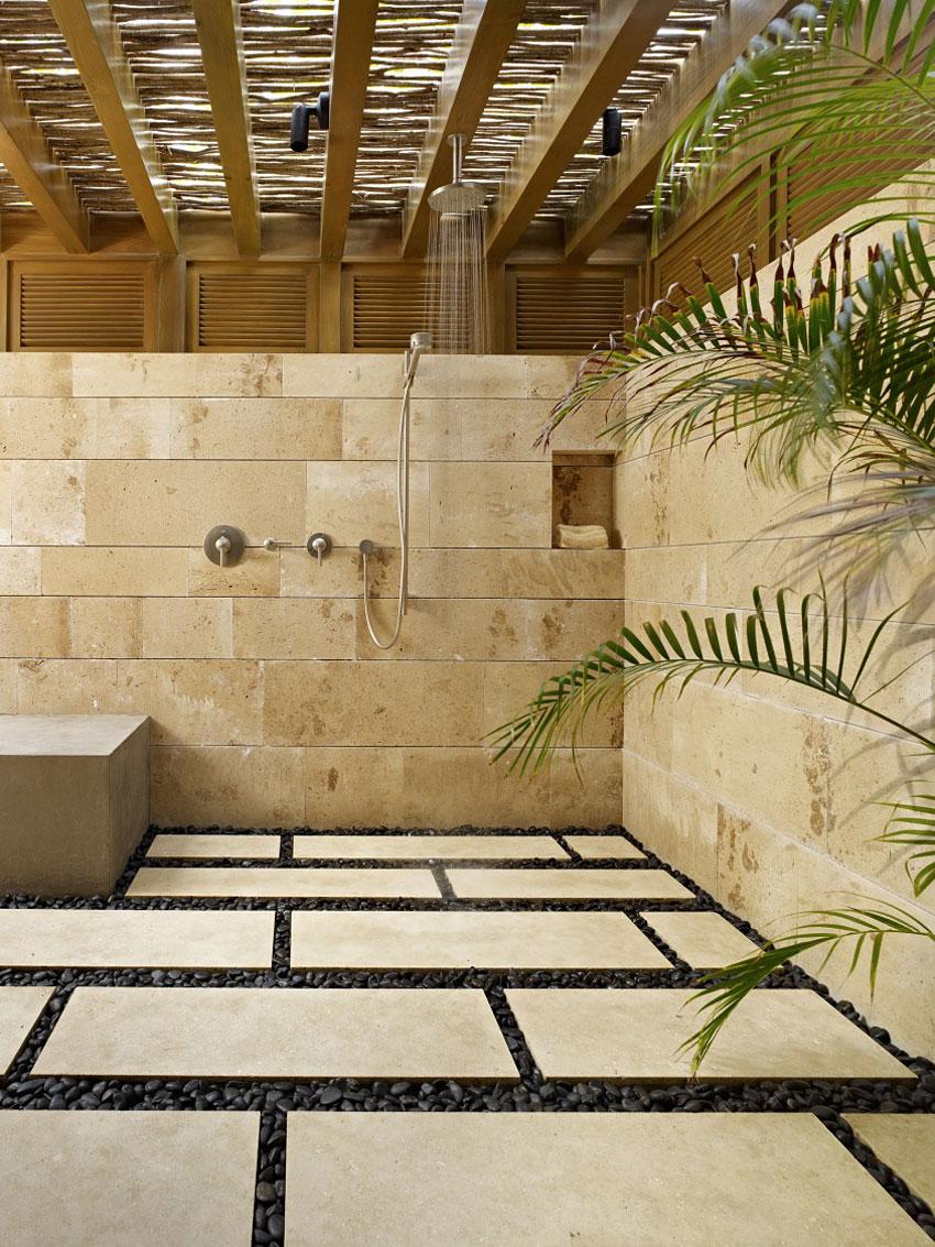 Shower, Bathroom, Marble Tiles, Beachfront Home in Cabo San Lucas, Mexico