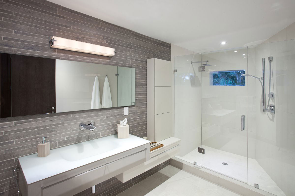 Shower, Glass Screen, Bathroom Sink, Mirror, Modern Retreat in Davie, Florida