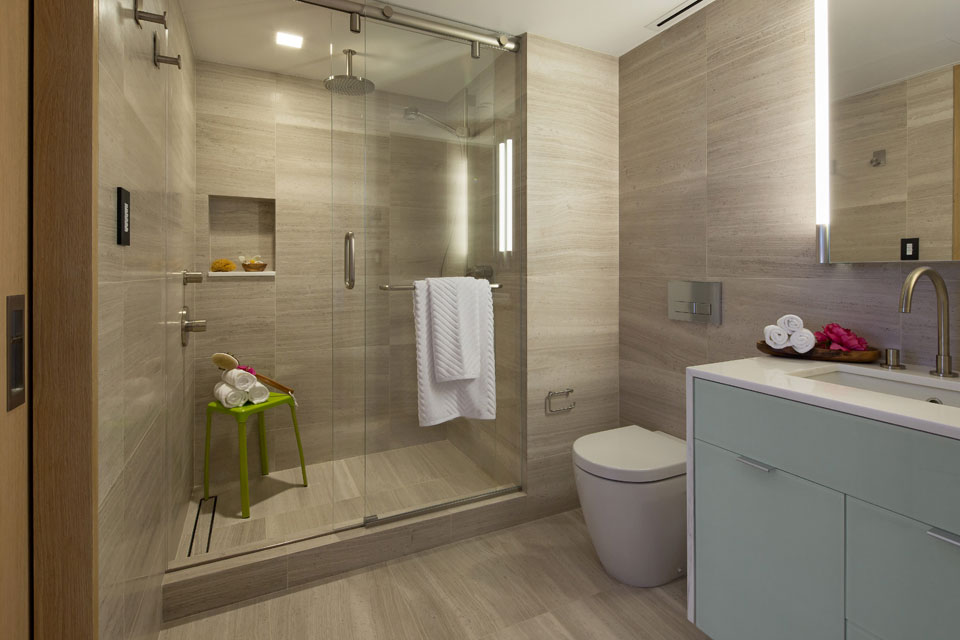Shower, Glass Sliding Door, Penthouse Apartment in TriBeCa, New York City