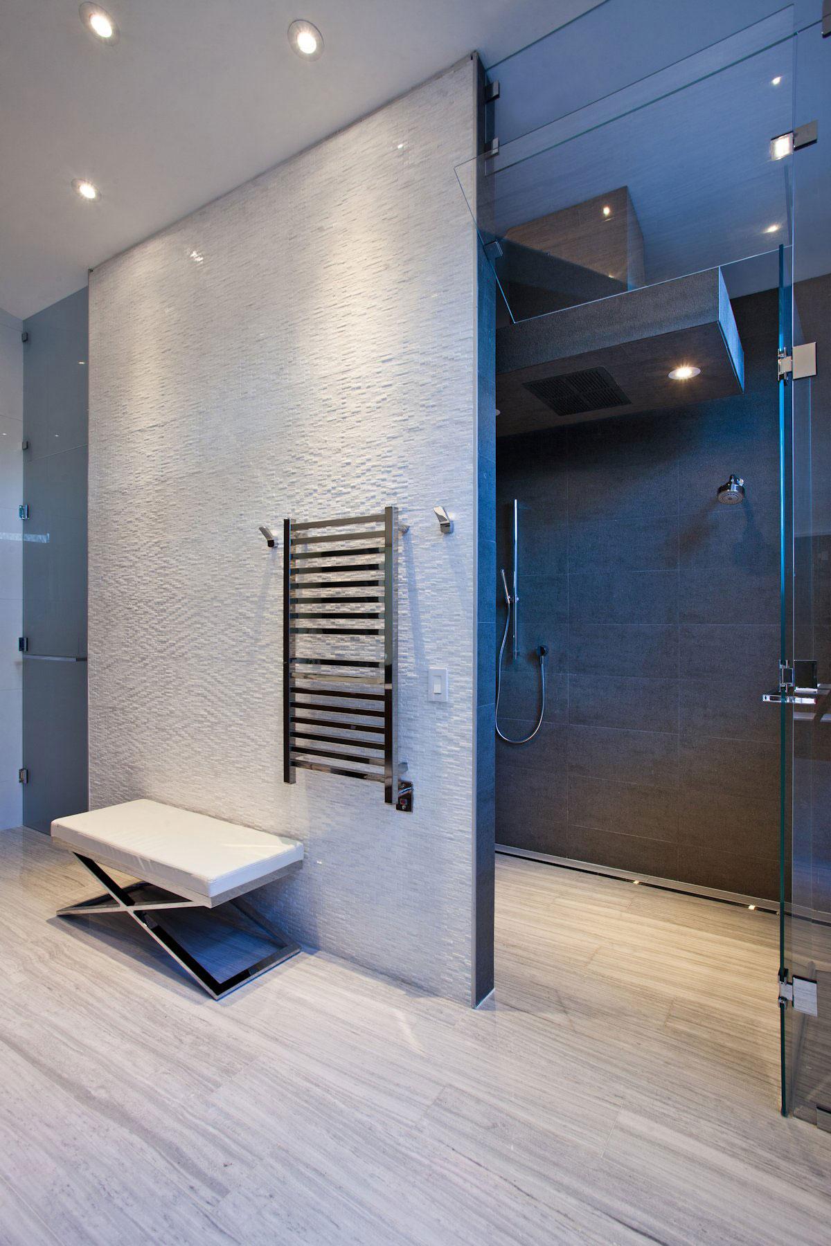 Shower Room, Glass Door, Modern Retreat in Davie, Florida