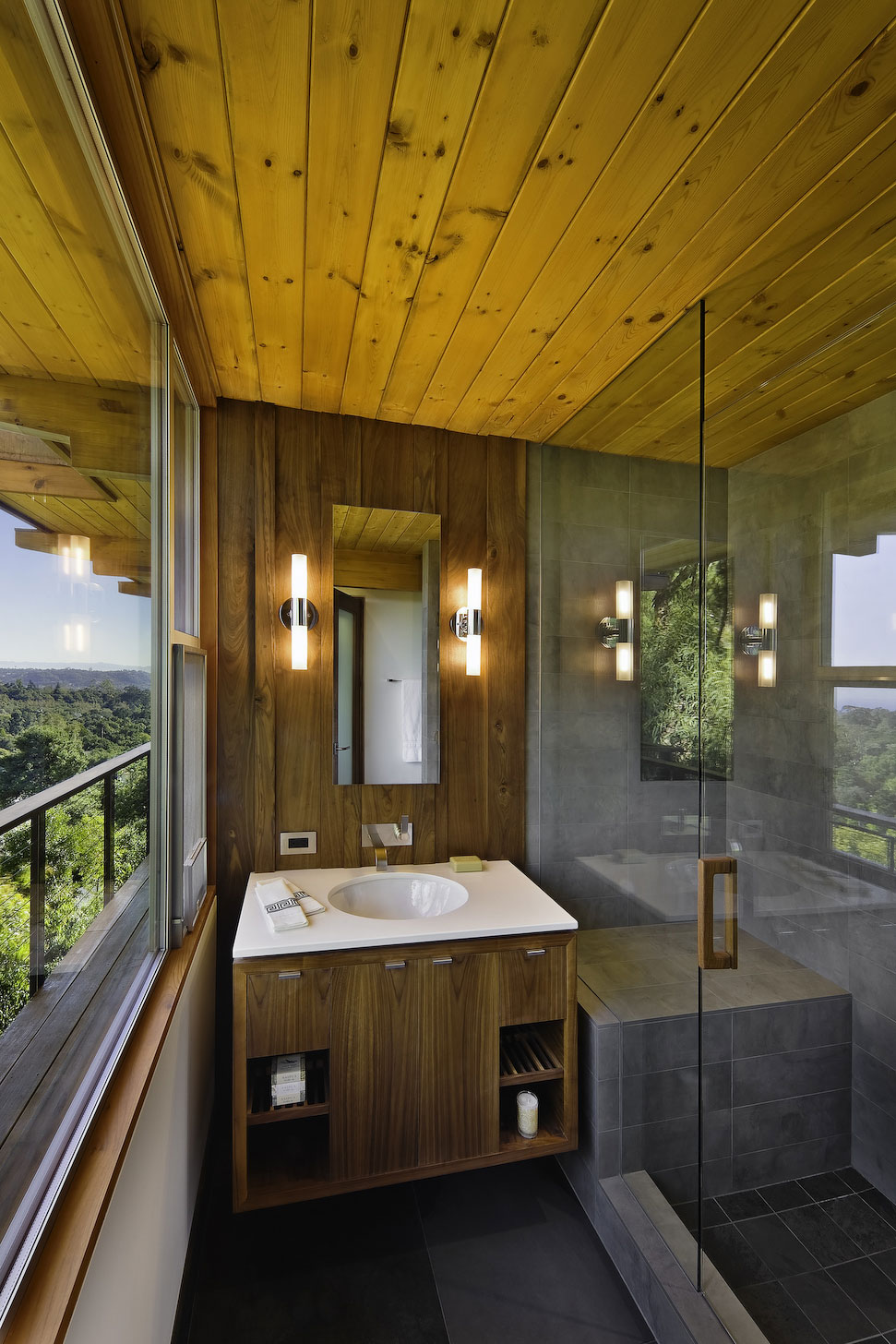 Sink, Shower, Mid-Century Modern Home in Santa Barbara, California