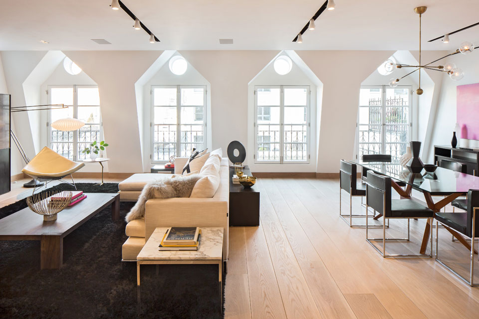 Sofa, Rug, Dining Table, Lighting, Penthouse Apartment in TriBeCa, New York City