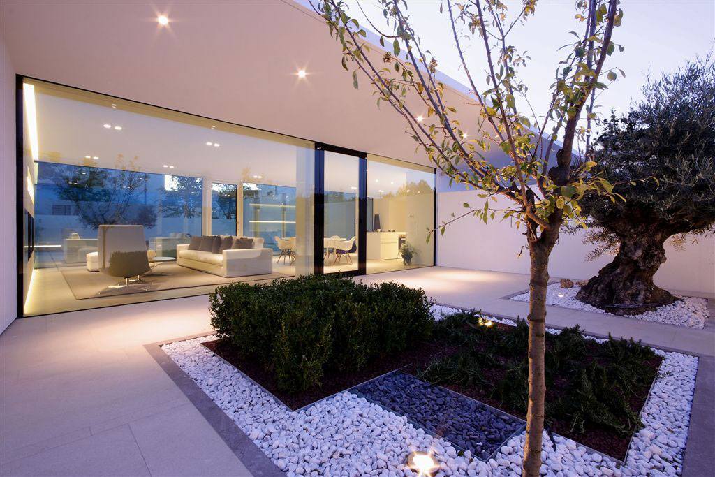 Terrace, Glass Entrance, Contemporary Villa in Jesolo Lido, Venice, Italy