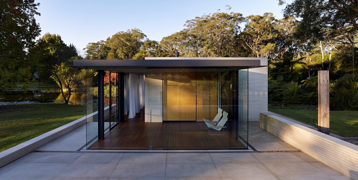 Terrace, Glass Walls, Cantilevered Glass Pavilion in Somersby, Australia