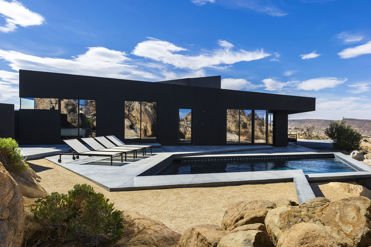 Terrace, Outdoor Pool, Mountain Home in Twentynine Palms, California