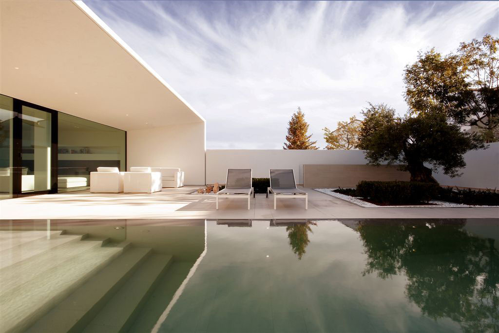 Terrace, Pool Steps, Terrace Furniture, Contemporary Villa in Jesolo Lido, Venice, Italy