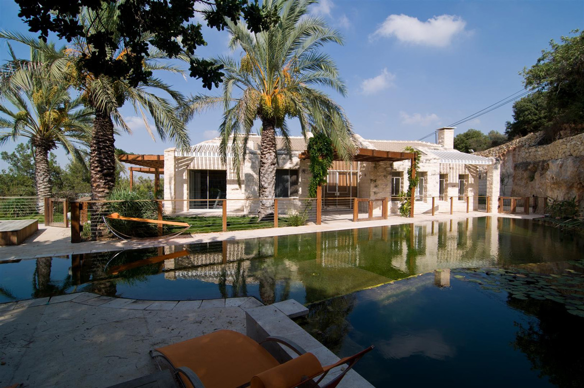 Terrace, Pool, Contemporary Stone House in Jerusalem, Israel