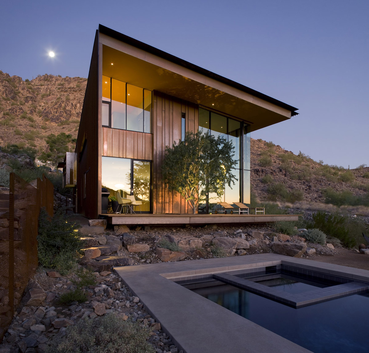 Terrace, Rough Garden, Jarson Residence in Paradise Valley, Arizona