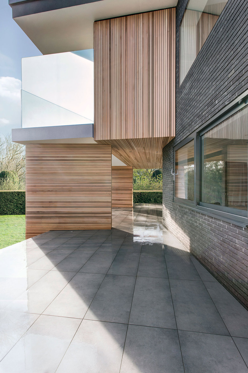 Terrace, Wood Cladding, Modern Home in Hampshire, England