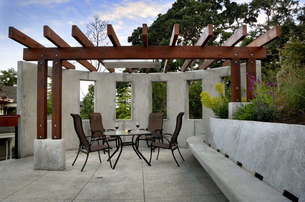 Veranda, Outdoor Dining, Exposed Concrete, Modern Home in Victoria, British Columbia