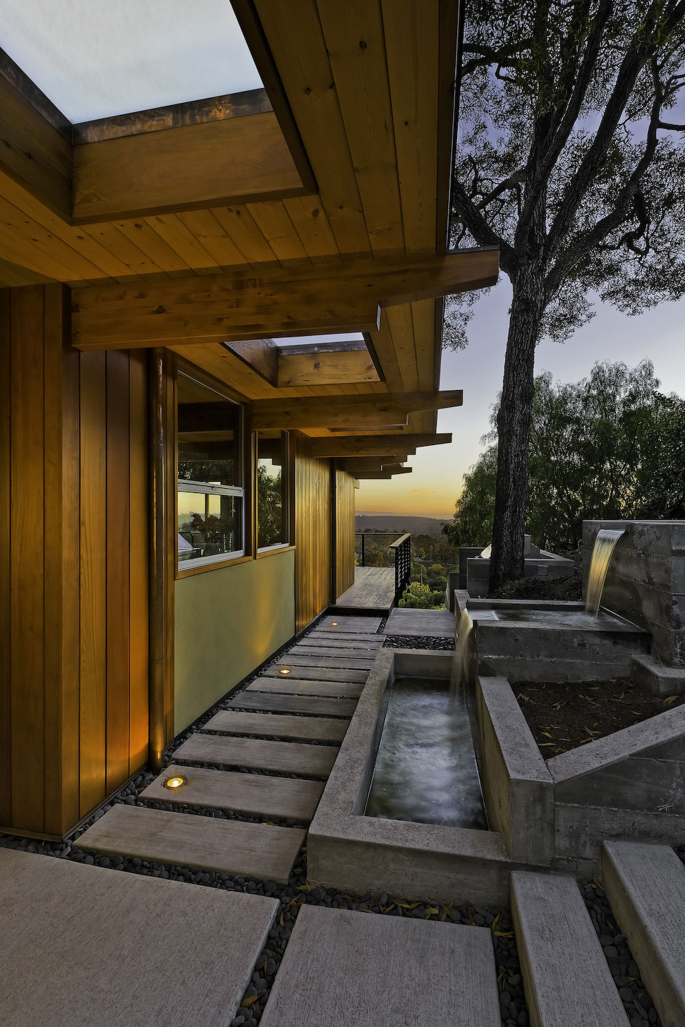 Water Feature, Waterfalls, Mid-Century Modern Home in Santa Barbara, California