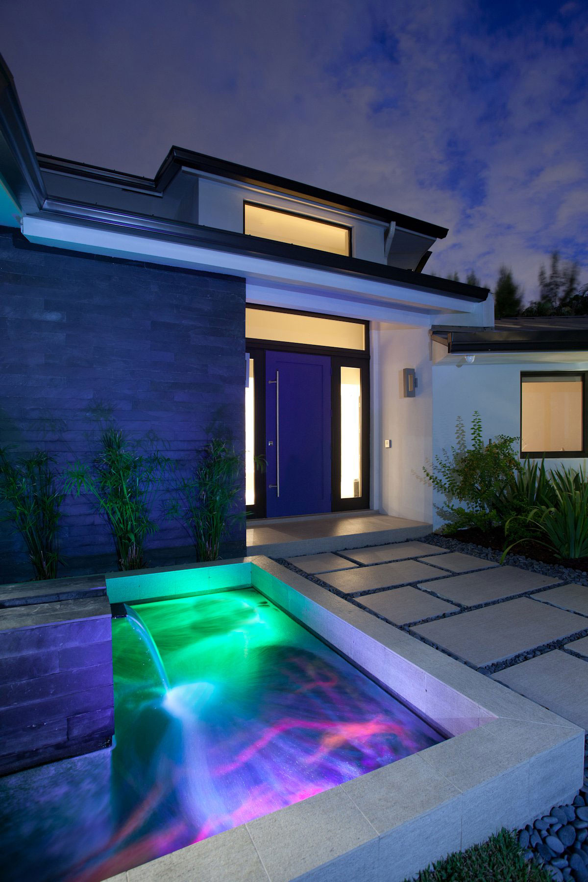 Waterfall, Water Feature, Colored Lighting, Modern Retreat in Davie, Florida