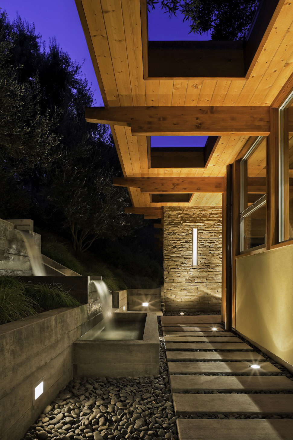 Waterfall, Water Feature, Pathway, Lighting, Mid-Century Modern Home in Santa Barbara, California