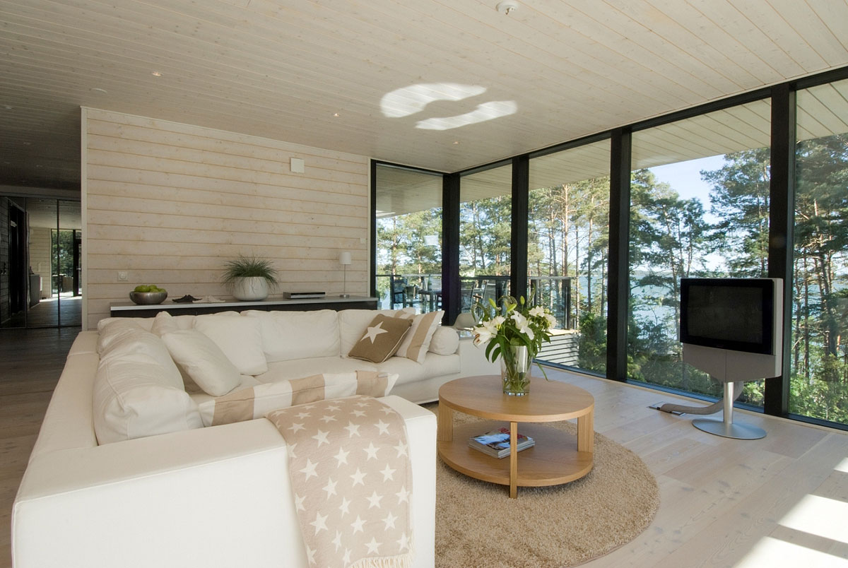 White Sofa, Rug, Living Room, Vacation Home in Merimasku, Finland