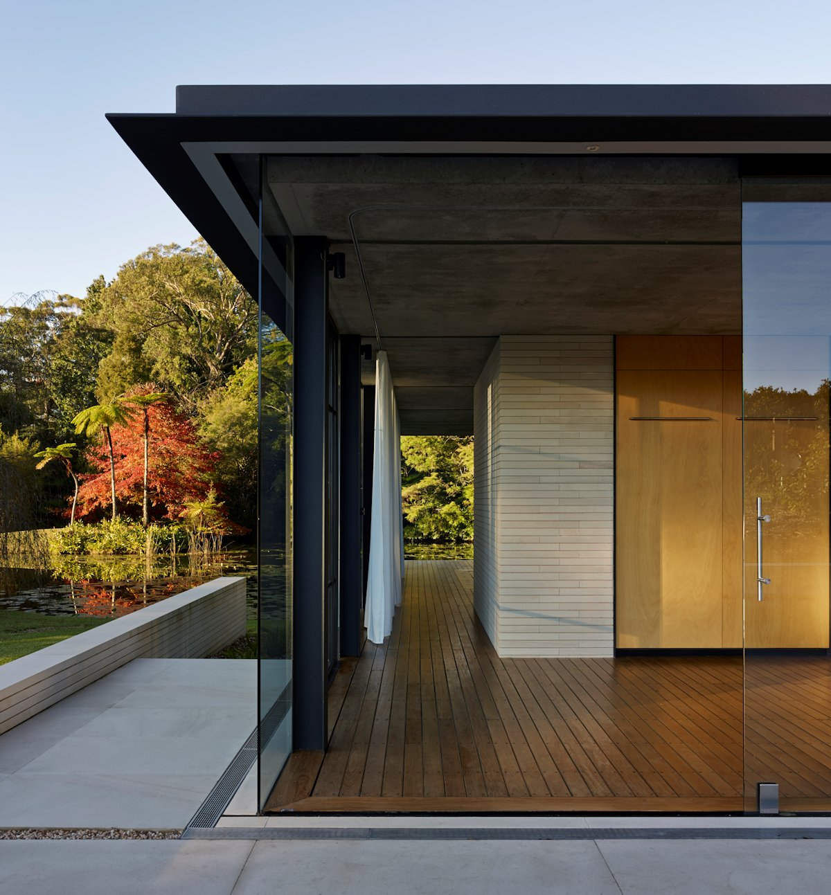 Wood Flooring, Large Glass Windows, Glass Pavilion in Somersby, Australia