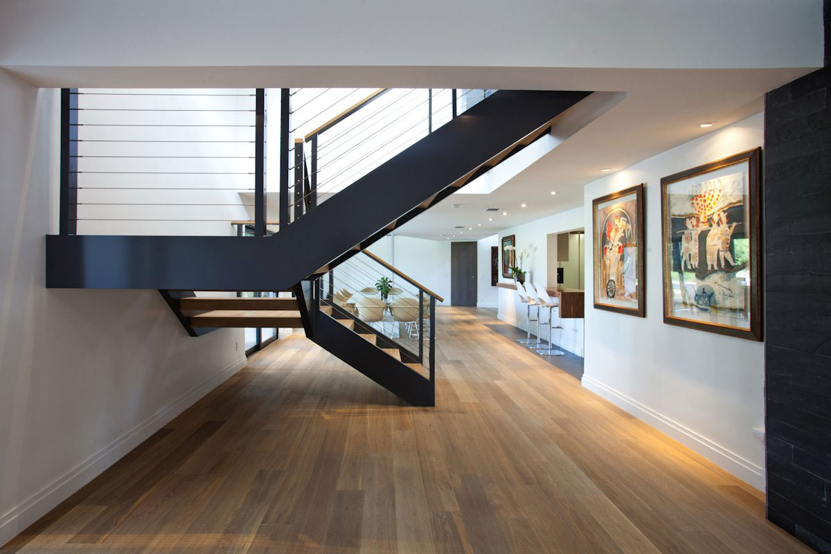 Wood Flooring, Stairs, Art, Modern Retreat in Davie, Florida