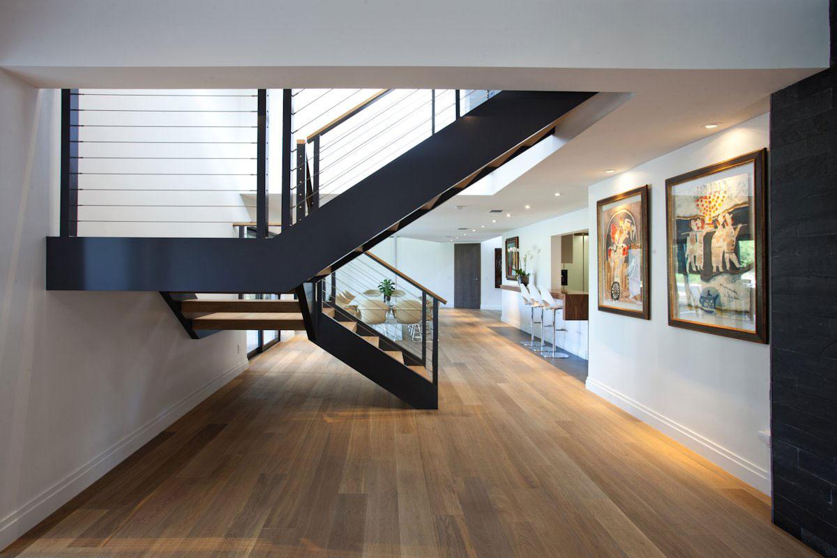 Wood Flooring, Stairs, Art, Modern Retreat in Davie, Florida