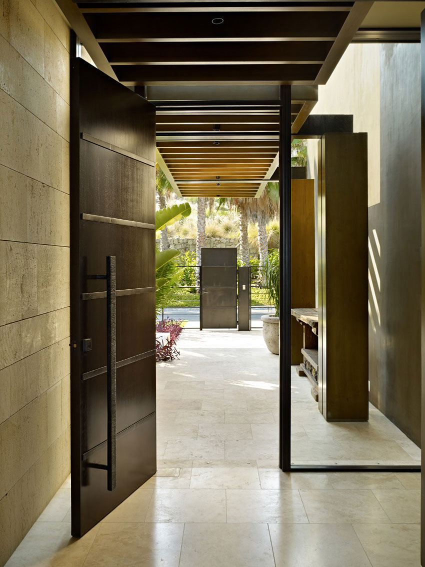 Wood & Glass Entrance, Beachfront Home in Cabo San Lucas, Mexico
