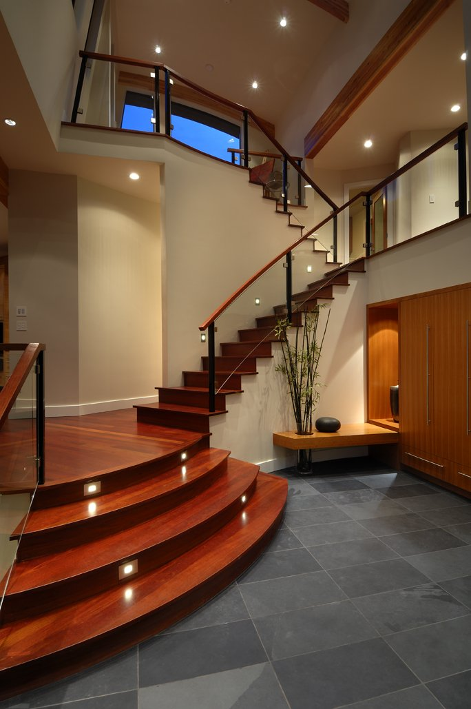 Wood Stairs, Glass Balustrading, Modern Home in Victoria, British Columbia