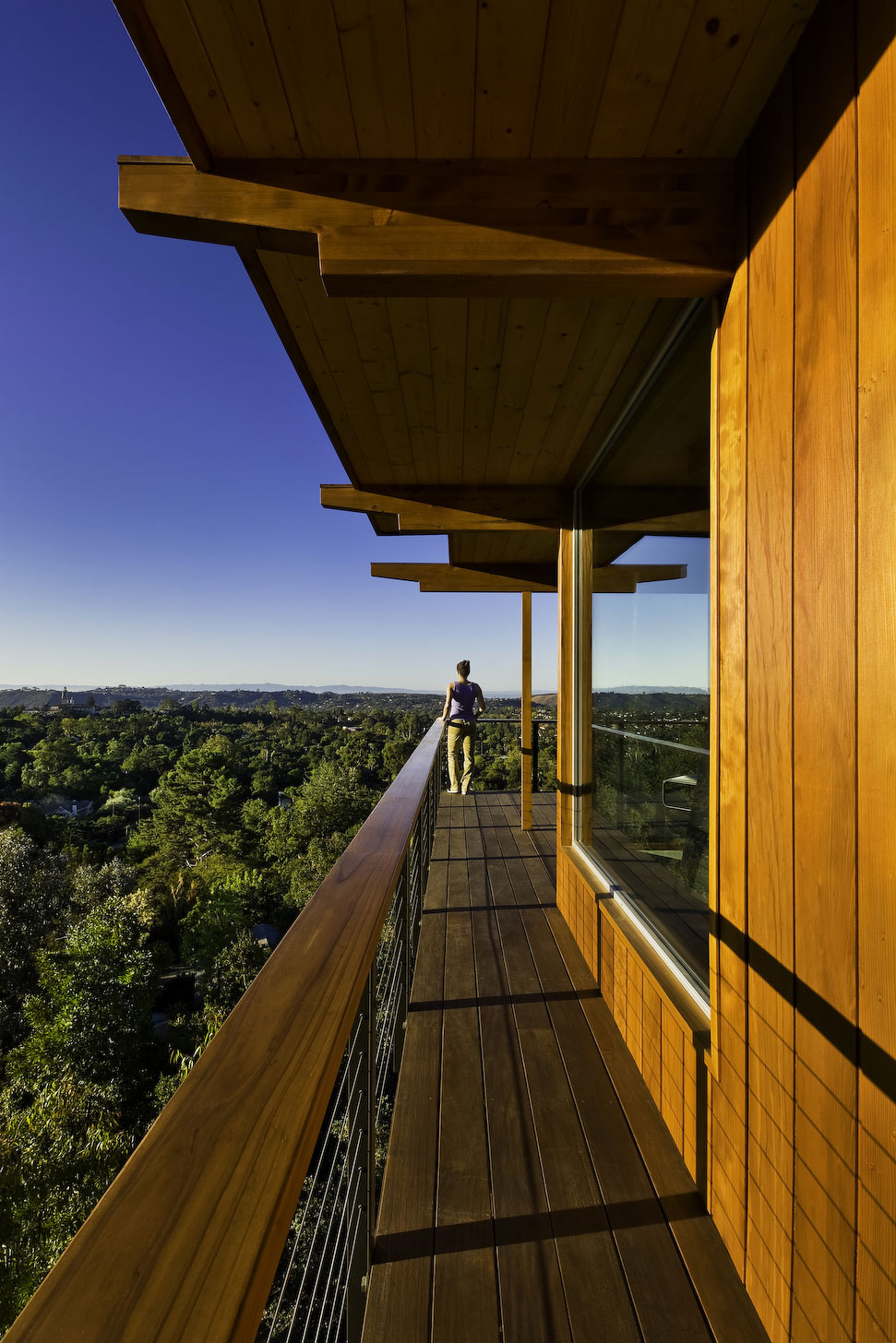 Wooden Balcony, Mid-Century Modern Home in Santa Barbara, California