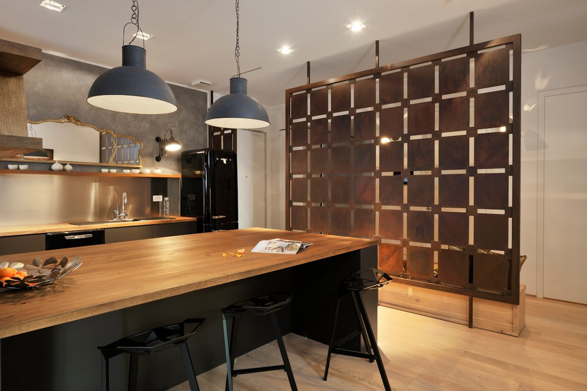Wooden Breakfast Bar, Kitchen Island, Apartment in Ljubljana, the Capital of Slovenia