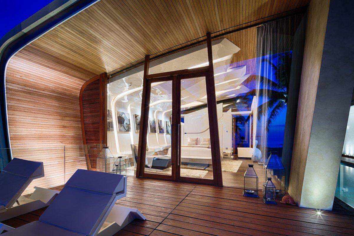 Wooden Deck, Terrace, Floor-to-Ceiling Windows, Iniala Beach House in Phuket, Thailand