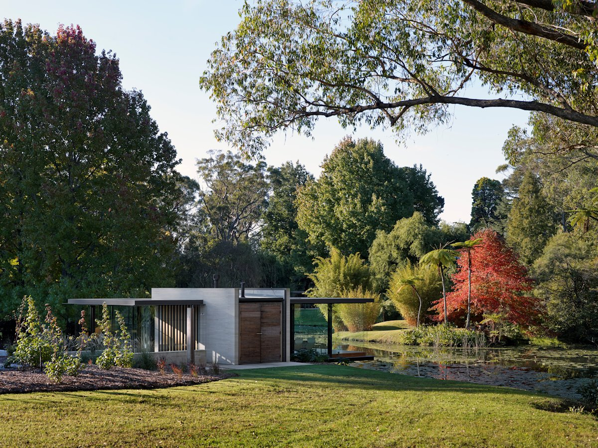 Wooden Entrance, Doors, Garden, Glass Pavilion in Somersby, Australia