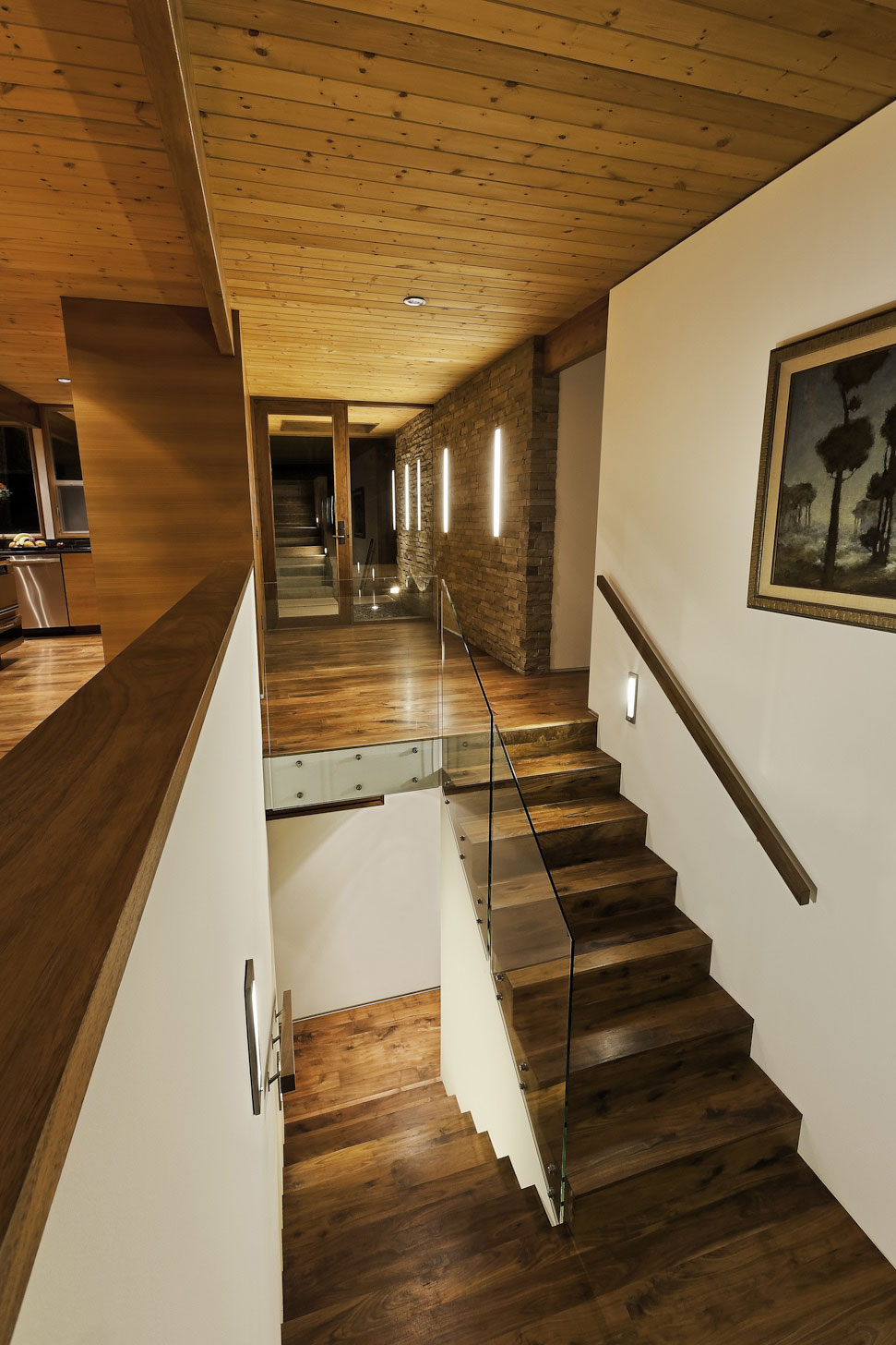 Wooden & Glass Stairs, Mid-Century Modern Home in Santa Barbara, California