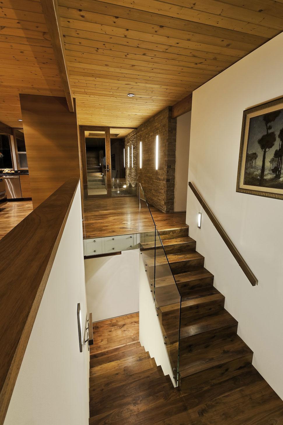 Wooden & Glass Stairs, Mid-Century Modern Home in Santa Barbara, California