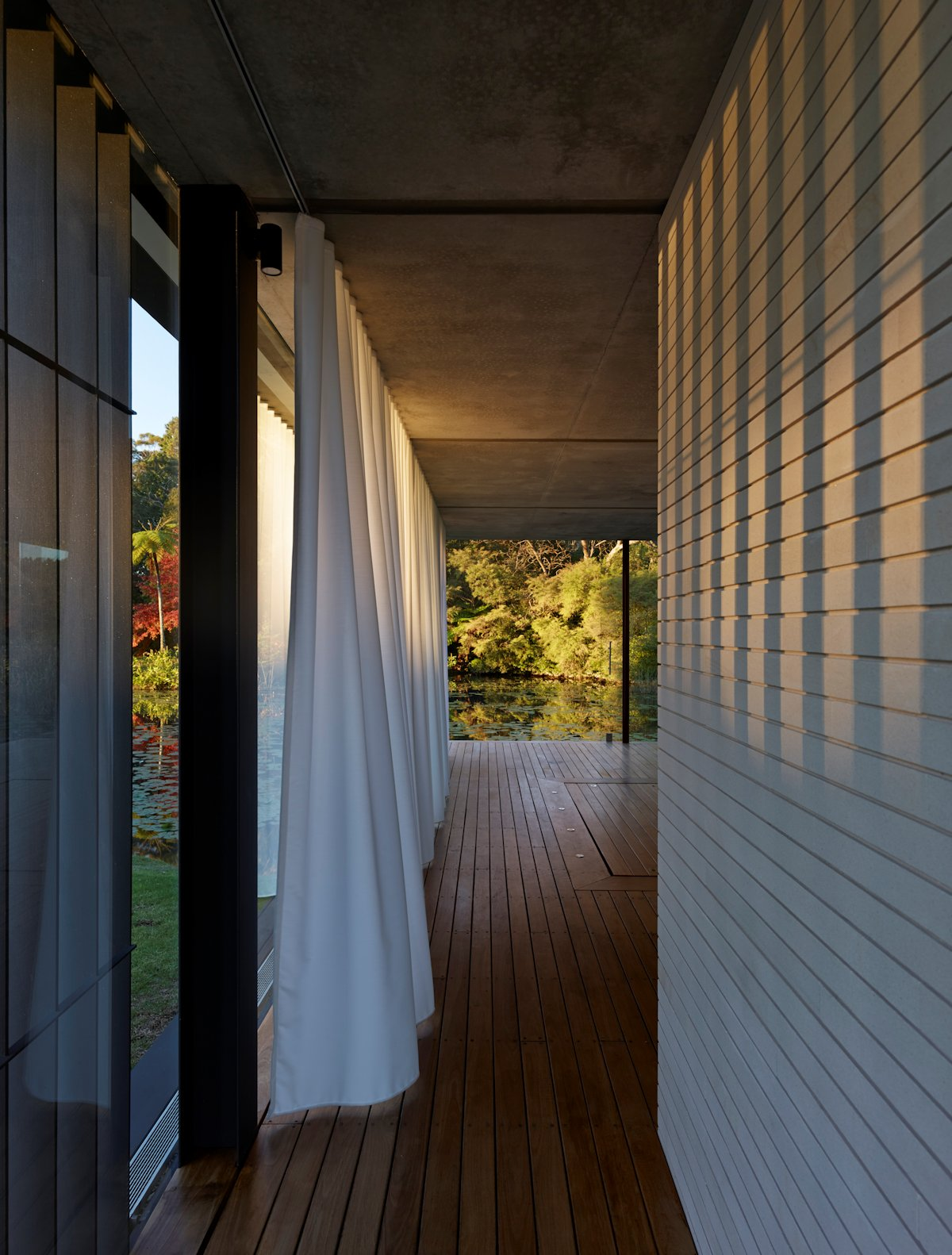 Wooden Wall, Flooring, Glass Walls, Glass Pavilion in Somersby, Australia