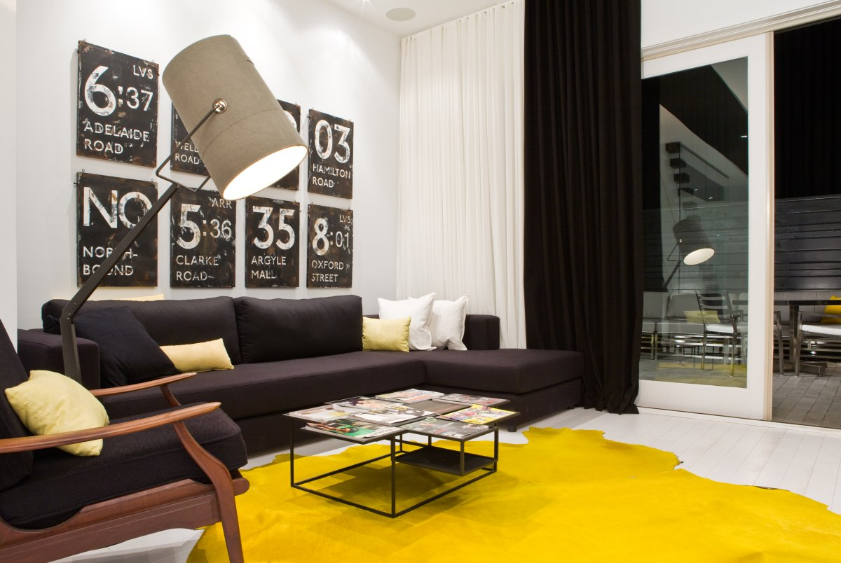 Yellow Rug, Sofa, Lighting, Patio Doors, Contemporary Townhome In Toronto,  Canada