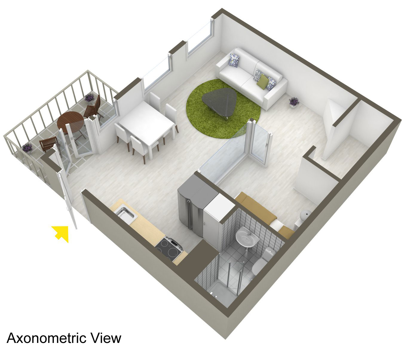 Axonometric View, Apartment in Östermalm, Stockholm