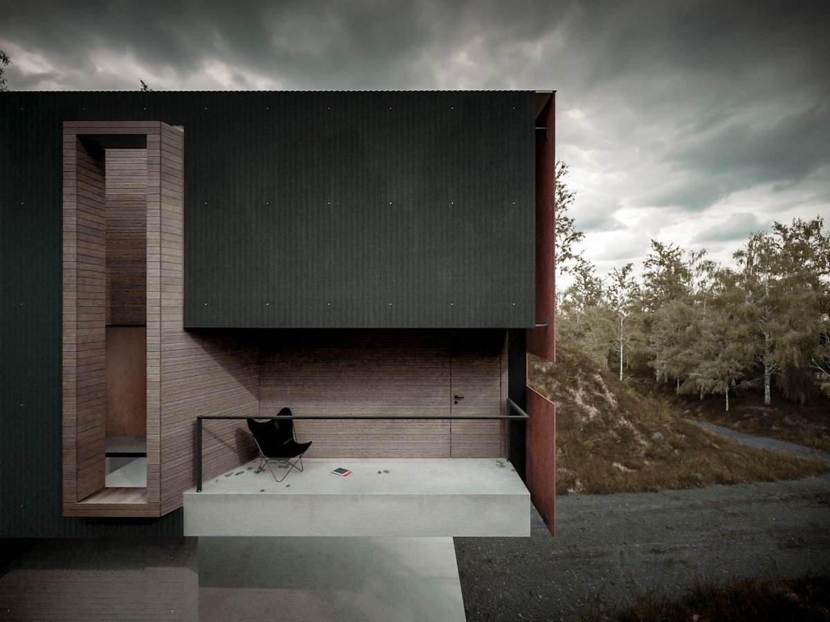Balcony, Cantilevered Home in Pontypridd, Wales