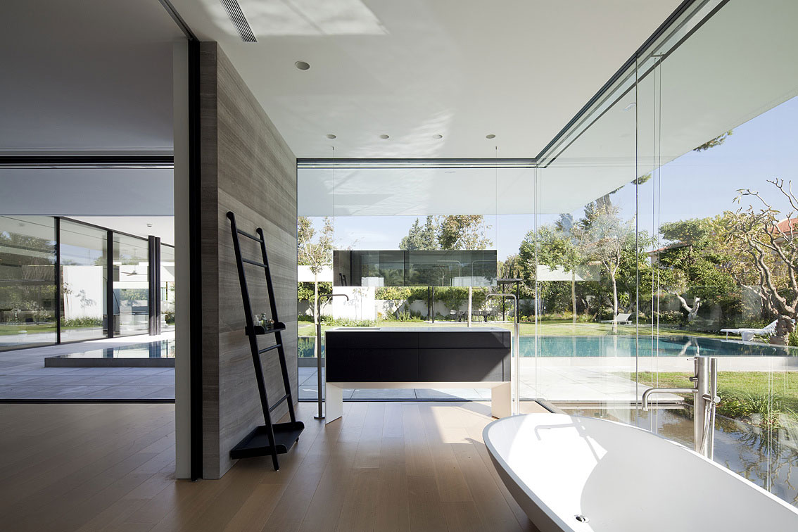 Bathroom, Bath, Sink, Glass Walls, Float House in Tel Aviv, Israel