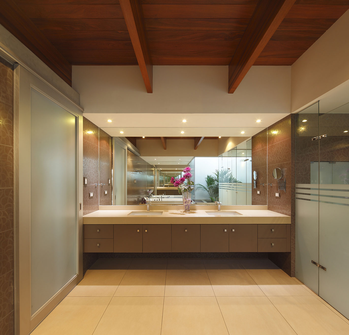 Bathroom, Double Sinks, Glass Shower Door, Imposing Family Home in Lima, Peru