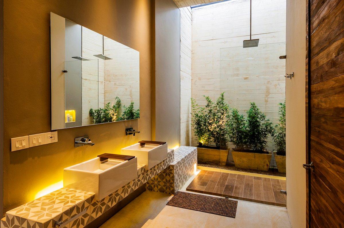 Bathroom, Sinks, Open Shower, House in Villeta, Colombia