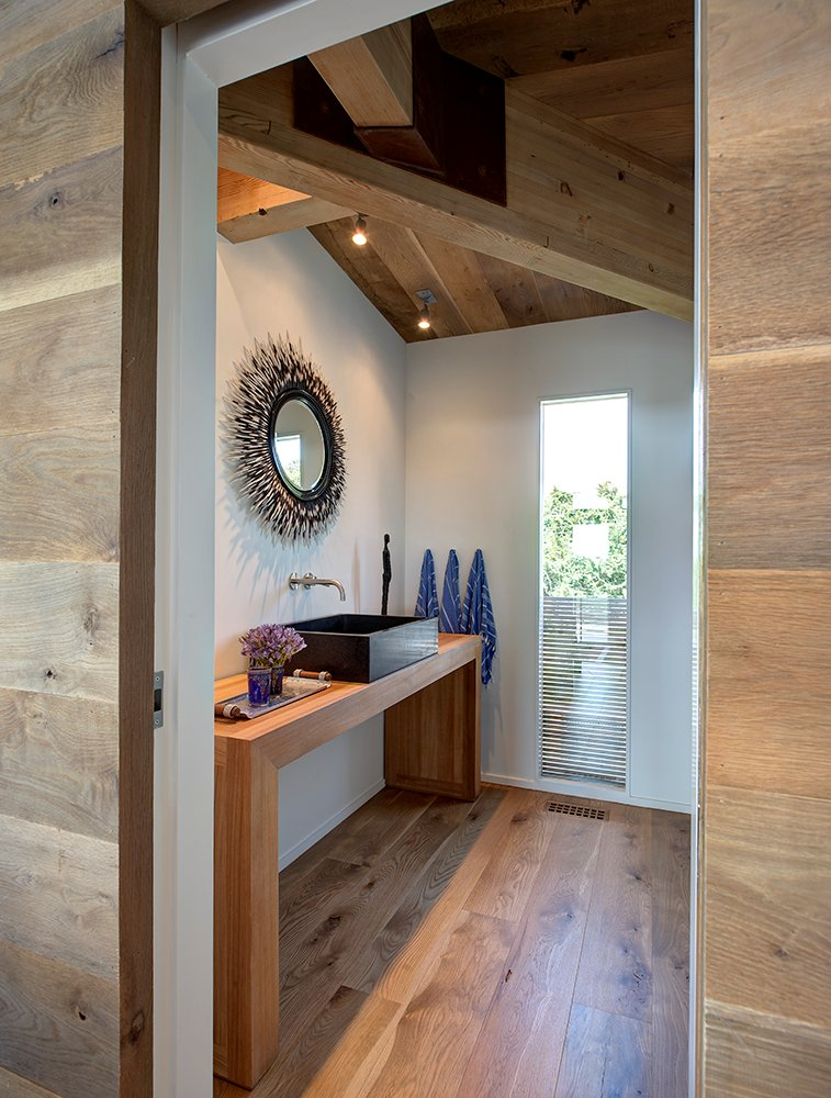 Bathroom, Wood Beams, Home Addition, Southampton, New York