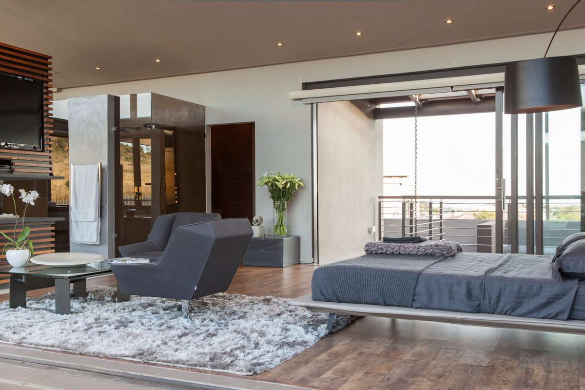 Bedroom, Glass Shower, Rug, Balcony, House in Johannesburg