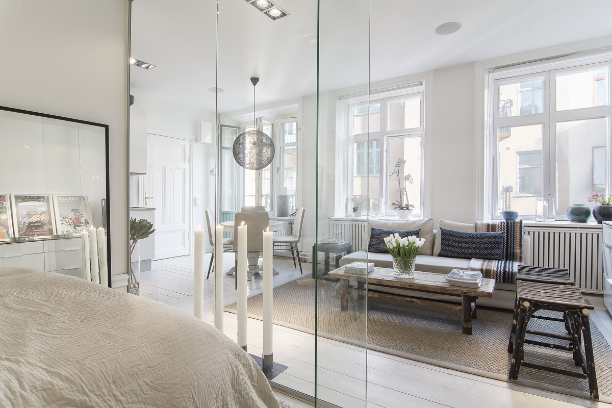 Bedroom, Glass Wall, Living Space, Apartment in Östermalm, Stockholm