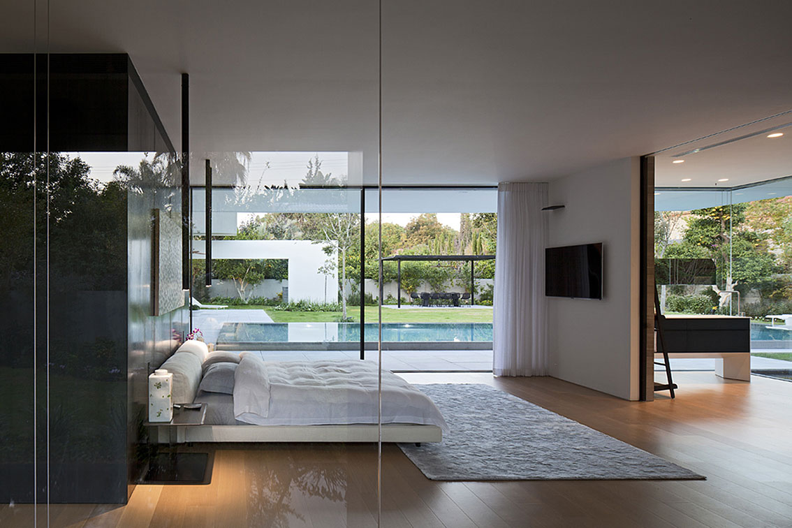Bedroom, Glass Walls, Float House in Tel Aviv, Israel