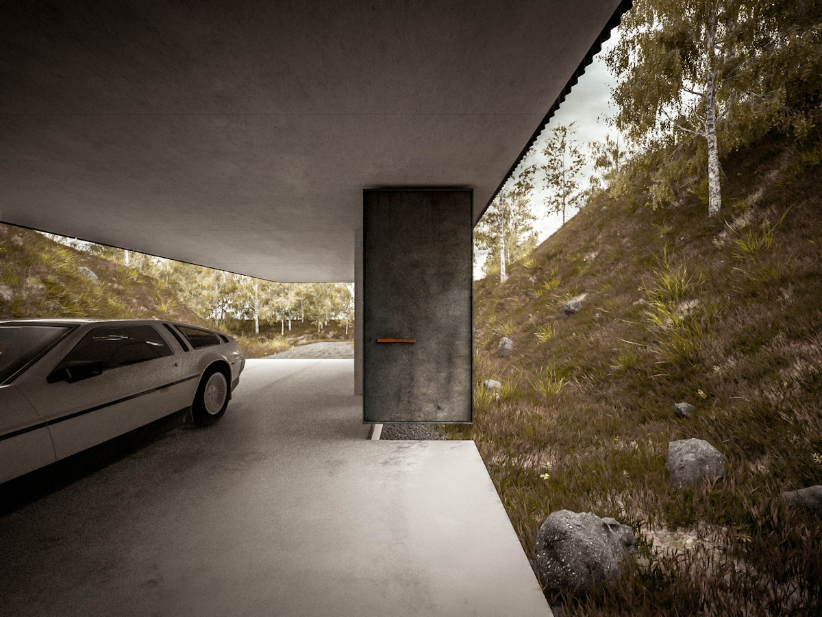 Car Park, Cantilevered Home in Pontypridd, Wales