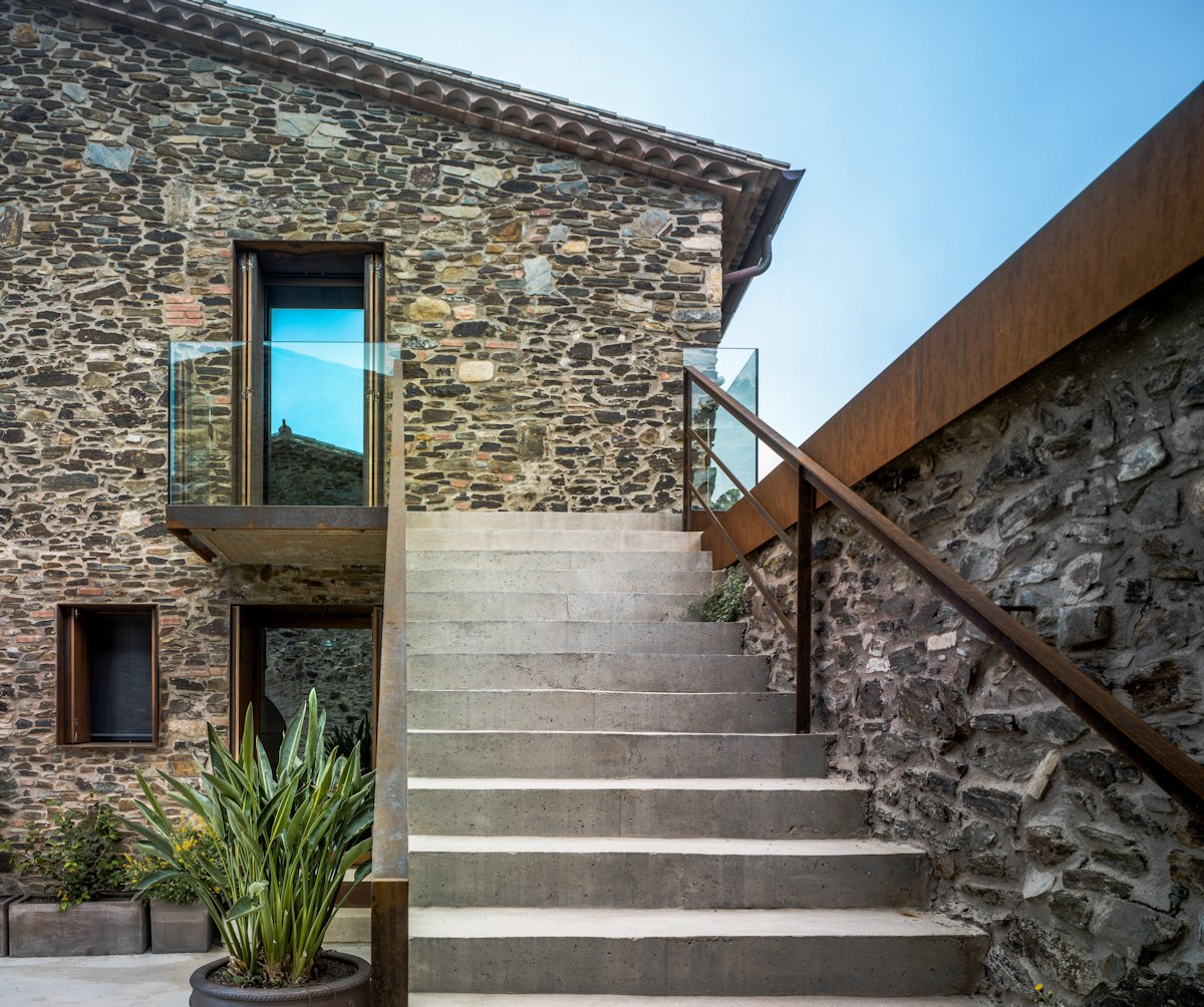 Concrete Stairs, Glass Balustrading, Catalan Farmhouse, Girona, Spain